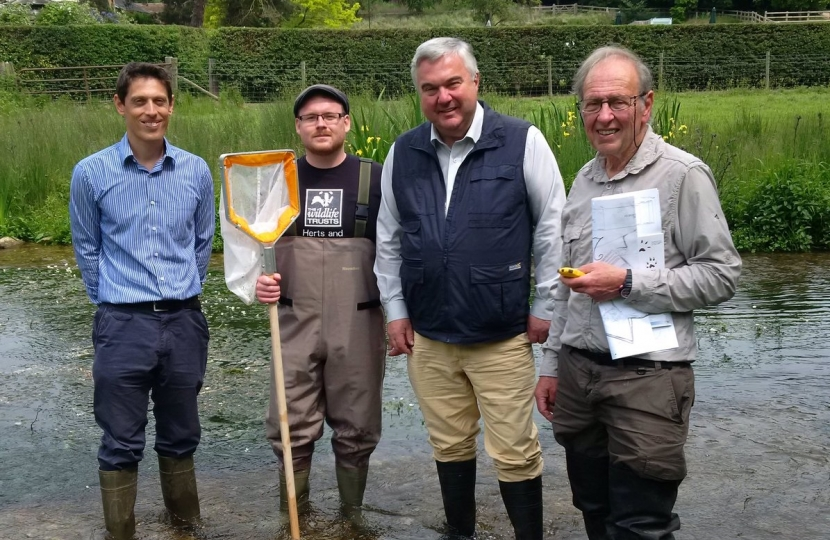 Sir Oliver's visit to Tewinbury with the Herts and Middlesex Wildlife Trust