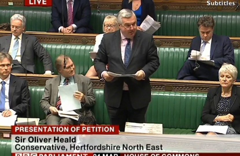 Sir Oliver presenting his EVEL petition