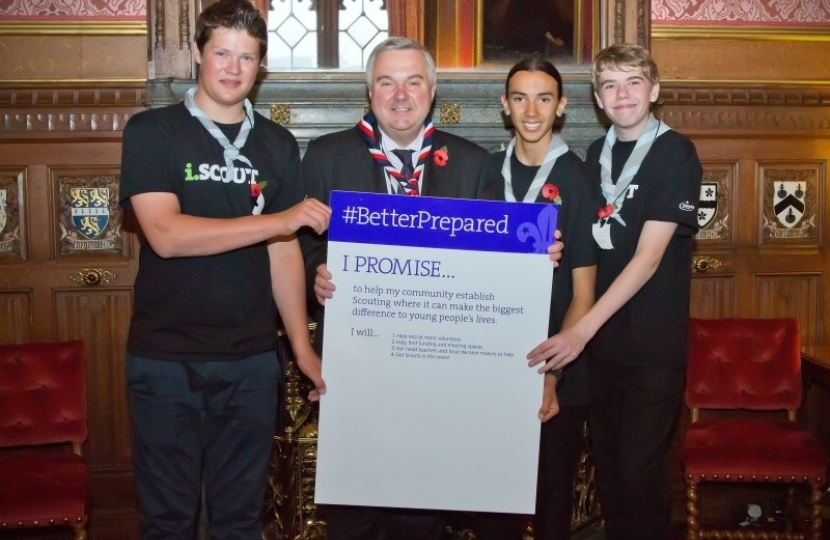 Sir Oliver pledging support for new Scout groups